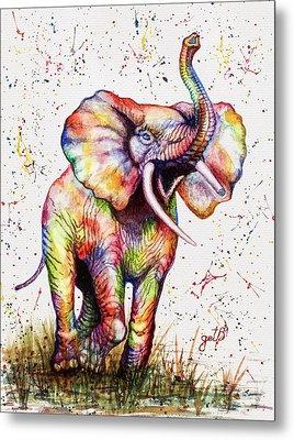 Metal Print featuring the painting Colorful Watercolor Elephant by Georgeta Blanaru