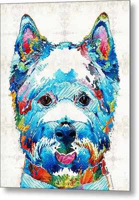 Colorful West Highland Terrier Dog Art Sharon Cummings Metal Print