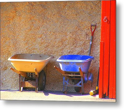 Metal Print featuring the photograph Colorful Wheelbarrows by Margie Avellino