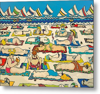 Colorful Whimsical Beach Seashore Women Men Metal Print by Rebecca Korpita