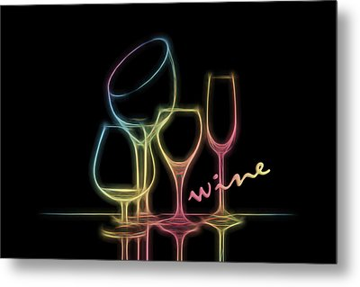 Colorful Wineglasses Metal Print
