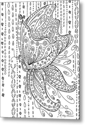 Coloring Page With Beautiful Butterfly Drawing By Megan Duncanson Metal Print by Megan Duncanson