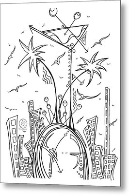 Coloring Page With Beautiful City Martini Drawing By Megan Duncanson Metal Print by Megan Duncanson