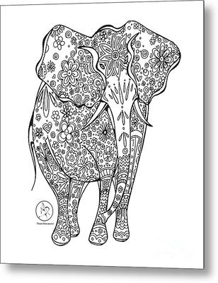 Coloring Page With Beautiful Elephant Drawing By Megan Duncanson Metal Print by Megan Duncanson