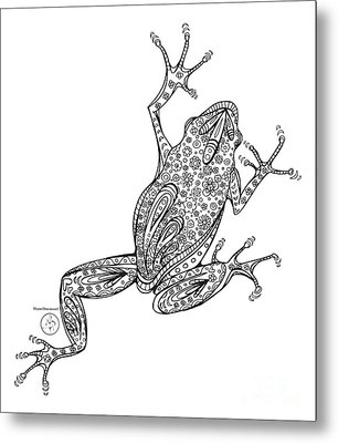 Coloring Page With Beautiful Frog Drawing By Megan Duncanson Metal Print by Megan Duncanson