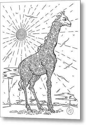 Coloring Page With Beautiful Giraffe Drawing By Megan Duncanson Metal Print by Megan Duncanson