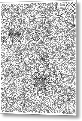 Coloring Page With Beautiful In The Garden 6 Drawing By Megan Duncanson Metal Print by Megan Duncanson