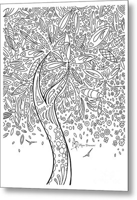 Coloring Page With Beautiful In The Garden 5 Drawing By Megan Duncanson Metal Print by Megan Duncanson
