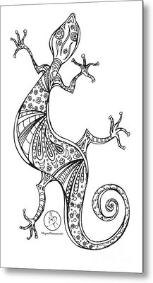 Coloring Page With Beautiful Lizard Drawing By Megan Duncanson Metal Print by Megan Duncanson