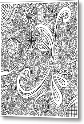Coloring Page With Beautiful Swirls Drawing By Megan Duncanson Metal Print by Megan Duncanson