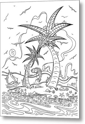 Coloring Page With Beautiful Tropical Island Drawing By Megan Duncanson Metal Print by Megan Duncanson