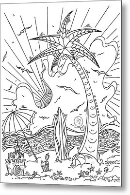 Coloring Page With Beautiful Tropical Surf Island Drawing By Megan Duncanson Metal Print by Megan Duncanson