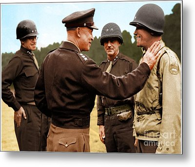 colorization WW2 Eisenhower Metal Print by John Wills