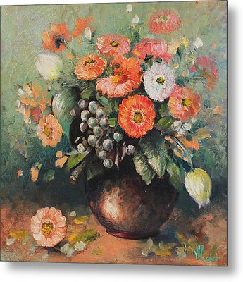 Coloroful Zinnias Bouqet Metal Print by Vali Irina Ciobanu
