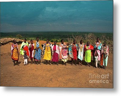Metal Print featuring the photograph Colors And Faces Of The Masai Mara by Karen Lewis