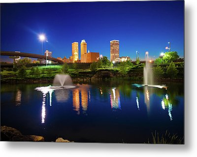 Metal Print featuring the photograph Colors Of Night Tulsa Oklahoma Downtown City Skyline by Gregory Ballos