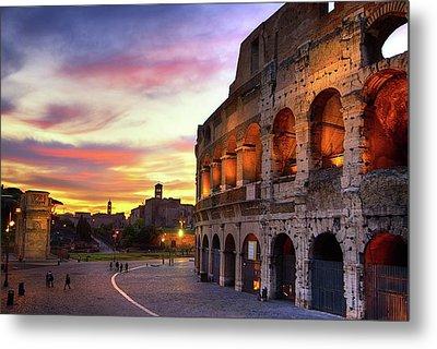 Colosseum At Sunset Metal Print