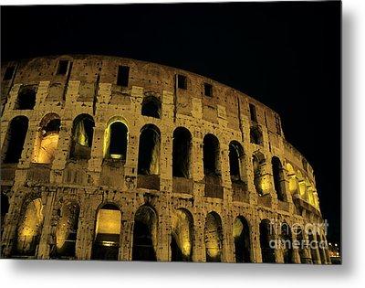 Colosseum Illuminated At Night Metal Print by Sami Sarkis