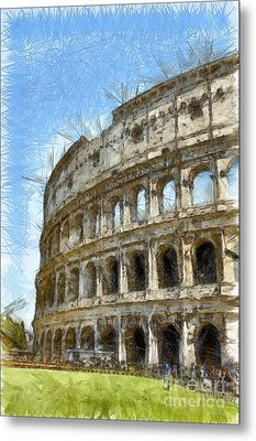 Colosseum Or Coliseum Pencil Metal Print by Edward Fielding