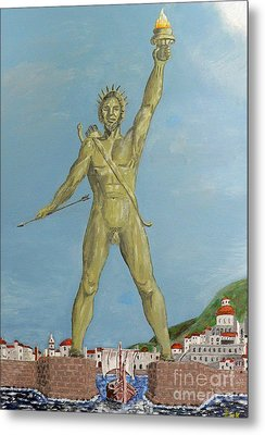 Metal Print featuring the painting Colossus Of Rhodes by Eric Kempson