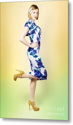 Colourful A Blond Retro Pinup Girl In High Heels Metal Print by Jorgo Photography - Wall Art Gallery