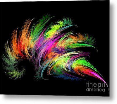 Colourful Feather Metal Print by Klara Acel