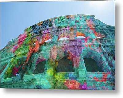 Metal Print featuring the mixed media Colourful Grungy Colosseum In Rome by Clare Bambers