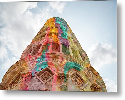 Metal Print featuring the mixed media Colourful Leaning Tower Of Pisa by Clare Bambers