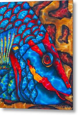 Colourful  Parrotfish - Brain Coral Metal Print by Daniel Jean-Baptiste