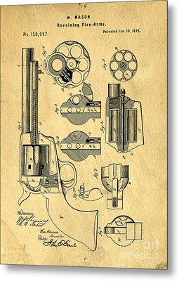 Colt Peacemaker Patent Art Blueprint Drawing Metal Print by Edward Fielding