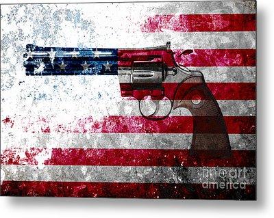 Colt Python 357 Mag On American Flag Metal Print
