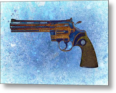 Colt Python 357 Mag On Blue Background. Metal Print by M L C