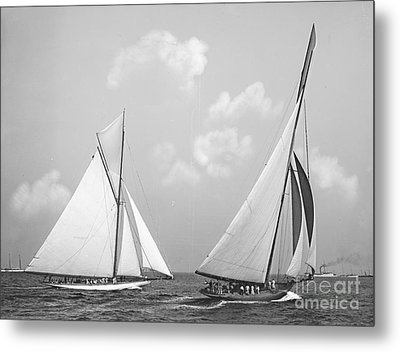 Columbia And Shamrock Race The Americas Cup 1899 Metal Print by Padre Art