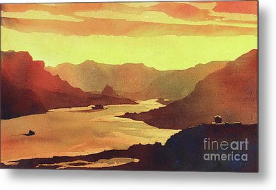 Metal Print featuring the painting Columbia Gorge Scenery by Ryan Fox