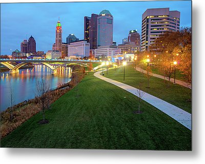 Columbus Downtown Skyline In Winter Metal Print by Gregory Ballos