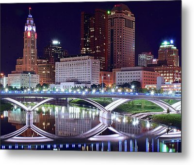Columbus Night On The Scioto River Metal Print by Frozen in Time Fine Art Photography