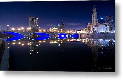 Columbus Oh Blue Bridge Reflections Metal Print by Shane Psaltis