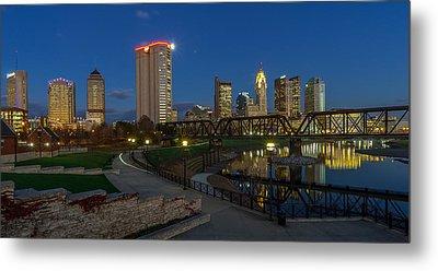 Columbus Ohio Skyline At Dusk Panoramic Metal Print by Scott McGuire