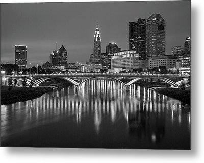 Metal Print featuring the photograph Columbus Ohio Skyline At Night Black And White by Adam Romanowicz