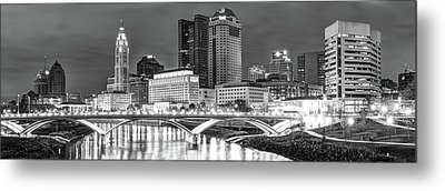 Metal Print featuring the photograph Columbus Skyline Panorama Black And White - Ohio Usa by Gregory Ballos