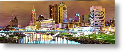 Metal Print featuring the photograph Columbus Skyline Panorama Color - Ohio Usa by Gregory Ballos