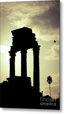 Column Sunset Temple Of Castor And Pollux In The Forum Rome Italy Metal Print by Andy Smy