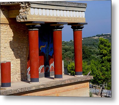 Metal Print featuring the photograph Columns Of Knossos Greece by Nancy Bradley