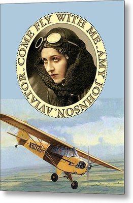 Come Fly Wth Me Vintage Aviator Metal Print by Sandra McGinley