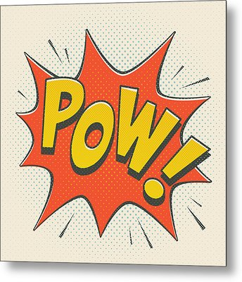 Comic Pow On Off White Metal Print