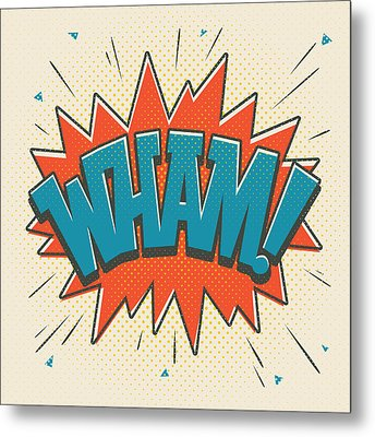Comic Wham On White Metal Print by Mitch Frey