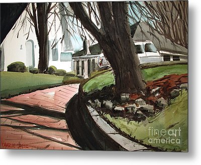 Metal Print featuring the painting Coming Down The Pink Road Framed by Charlie Spear
