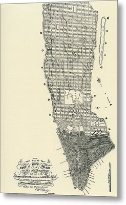 Commissioners' Map Of Manhattan, 1811 Metal Print