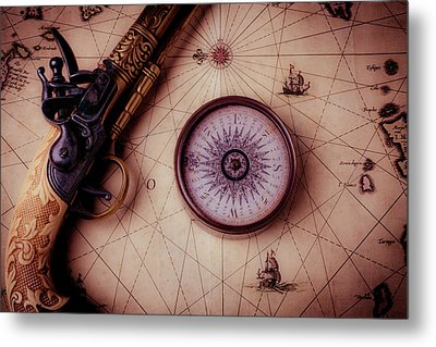 Compass And Pistole On Old Map Metal Print