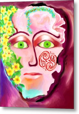 Metal Print featuring the painting Complete - A Mask by Shelley Bain